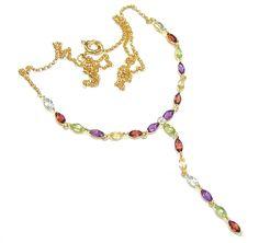 $70.85 Delicate+Design!+Amethyst+&+Garnet+&+Peridot+&+Citrine+&+Swiss+Blue+Topaz+Sterling+Silver+necklace at www.SilverRushStyle.com #necklace #handmade #jewelry #silver #amethyst