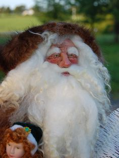 Old World/Victorian Santa with hand sculpted Premo Sculpey face. 08-19-15  TK