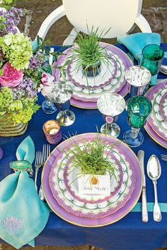 Purple China with spring colors on Aesthetic Oiseau: Happy Easter table by Jane Scott Hodges via Southern Living