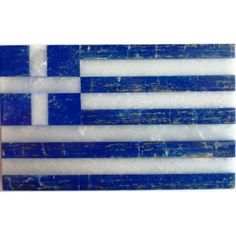 A real priceless Jewel : The Hellenic Flag made of Lazurite (Lapis Lazuli) and white marble.