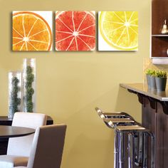 Set of 3 Citrus Design Canvas Wraps - Orange - Lemon - Grapefruit - Kitchen Art - Wall Art