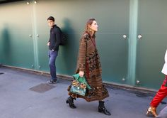 Annette Weber in a Fendi sweater and skirt and Valentino boots with a Prada bag