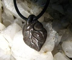 Black Broken Heart Anatomical Heart Jewelry Necklace, Pendant or Charm. $28.00, via Etsy.