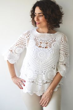 NEW Spring Fashion White Crochet Sweater by Afra by afra on Etsy