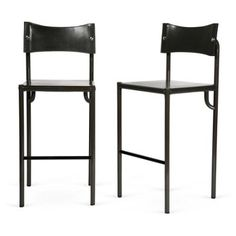 Check out this item at One Kings Lane! Italian Leather Barstools, Pair