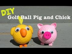 DIY Pig and Chick Recycled Golf Balls How To. I havent done a golf ball craft in a while and it seemed like it was about time! Its always fun to make upcycled crafts, especially when they are super cute! This is a fun craft for kids and adults! Pig Crafts, Ladybug Crafts, Rock Crafts, Garden Crafts, Fun Crafts For Kids, Easy Crafts, Easy Diy, Toddler Crafts, Golf Ball Crafts