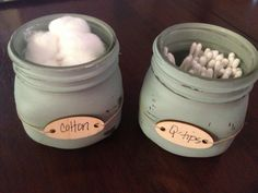 Made to Order - Chalk Painted Mason Jars with hemp twine and wooden tag on Etsy, $7.00