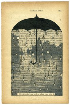 rain with the i circles - altered book page (the kids are taking a class & teacher did this idea)