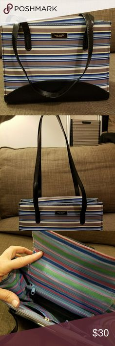 """Kate Spade Striped Purse A bright, perfect for Spring, blue striped kate Spade shoulder bag.  Blue stripe with black bottom and handles.  Handle drop is 10"""".  Small mark on the front left handle, altho barely noticeable. kate spade Bags Shoulder Bags"""