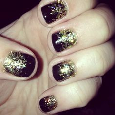 Red Carpet Manicure in Black Stretch Limo with gold glitter