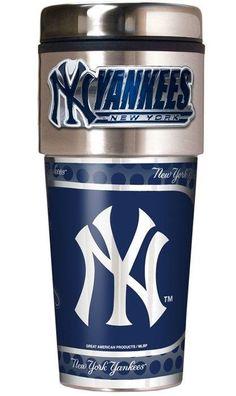 New York Yankees Travel Tumbler with Metallic Wrap & Emblem - 16oz