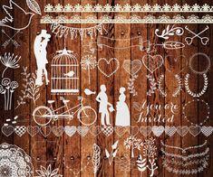 Chalkboard wedding clipart: WEDDING CLIP ART shabby by ChiliPapers