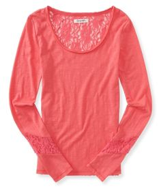 Long Sleeve Sheer Lace Tee (Glazed Pink)