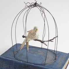 Paper+Mache+Bird+in+a+Bird+Cage++Original+by+GatheredTogether,+$65.00