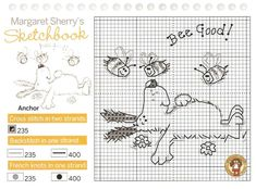 x stitch; margaret sherry; dog with bees