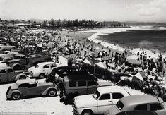 Greenmount Beach, Coolangatta, January Large crowds enjoy the Christmas holidays. Brisbane Queensland, Brisbane City, Australian Photography, Historical Images, The Good Old Days, Holiday Destinations, Gold Coast, Old Photos, Places To Go