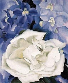 White Rose With Larkspur No 1 1927 - Georgia O'Keeffe reproduction oil painting Georgia O'keeffe, Alfred Stieglitz, Wisconsin, Georgia O Keeffe Paintings, Oil Painting Reproductions, Arte Floral, Anime Comics, Famous Artists, American Artists