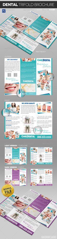 Dental Trifold Brochure — Photoshop PSD #dentist #teeth