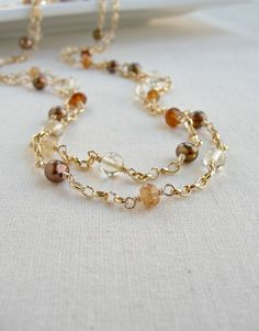Long Gold Necklace:  Multi Strand, Chain, Beaded, Layering, Hessionite Garnets, Pearls, Citrine