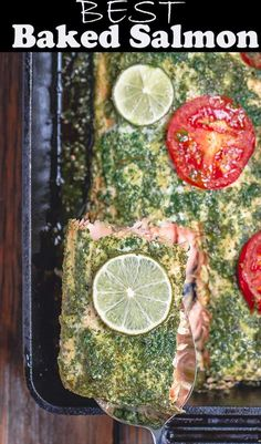Baked Salmon Recipe, prepared Mediterranean-style with a tasty garlic-cilantro sauce, tomato and lime slices. Recipe comes with video and great tips for how to bake salmon Baked Salmon Recipe, prepared Mediterranean-style with . Baked Salmon Recipes, Garlic Recipes, Fish Recipes, Seafood Recipes, Cilantro Recipes, Halibut Recipes, Healthy Recipes, Healthy Habits, Drink Recipes
