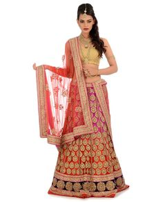 Rani Pink & Red Shaded Heavily Embellished Lengha Set - Buy Wedding Online | Exclusively.in