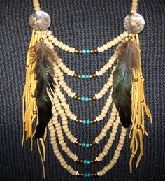 crow beads, brass, leather, feathers - inspiration for my DIY this week