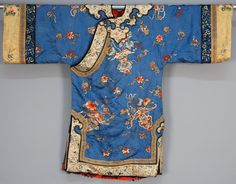 China, embroidered lady's robe, blue silk brocade with wedding collar and elaborate satin stitch embroidery of bats and flowers, late 19th c