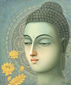 (Painting), cm by seshagiri pamula oil & acrylic Buddha Artwork, Buddha Painting, Krishna Painting, Modern Art Paintings, Fantasy Paintings, Buddha Buddhism, Buddhist Art, Buddha Canvas, Indian Folk Art
