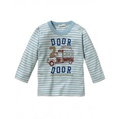 T-shirt manica lunga, con stampa, in jersey di cotone.3GQ4MM099 AZZURRO
