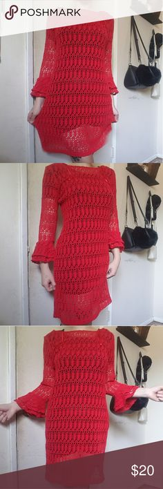 Red crochet dress I am selling this for my mom.   Tags: goth, gothic, punk, grunge, hot topic, witchy, witch, wicca, wiccan, pagan, fashion, alternative Dresses
