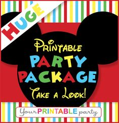 Mickey Mouse Party Package -  PERSONALIZED - Printable