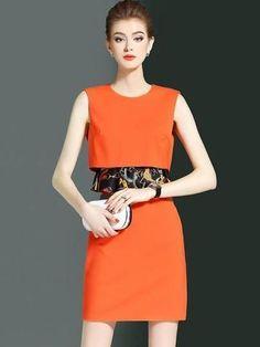 Women Dress Sleeveless Tiered Women Dress-Dress-Women-Clothing-Orange-S-Dresses-Online-USA-AU-UK-LeStyleParfait.Com