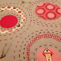 More hand quilting on a circles mug rug by Sarah @ FairyFace Designs, via Flickr