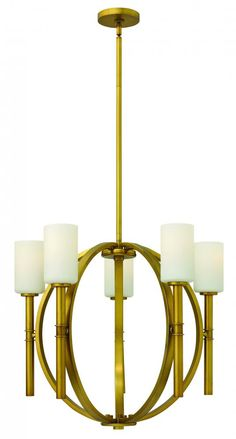 Five Light Vintage Brass Up Chandelier : 3585VS | Denney Lighting & Design
