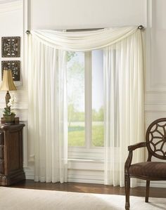Superb Ivory Window Sheers And Scarf For Double Windows In Living Room And Dining  Room Part 7