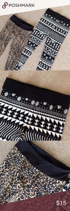 Two pair of printed Leggins Black and white patterned sweater leggings and spotted cotton leggings. TK Pants Leggings