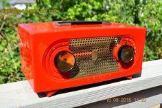 BLUETOOTH MP3 READY - Fire Engine Red Retro Jetsons Vintage 1955 Zenith Model R-511V AM Tube Radio WORKS!