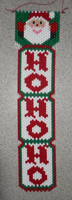 Handmade Hand Beaded Ho Ho Ho Santa Beaded Banner with Nylon Cord Christmas Perler Beads, Crochet Christmas Ornaments, Beaded Ornaments, Pony Bead Patterns, Beading Patterns Free, Beaded Jewelry Patterns, Bracelet Patterns, Christmas Crafts To Make, Christmas Decorations To Make