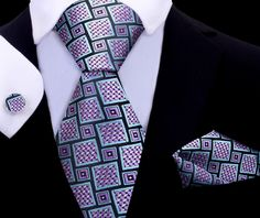 Mamba Tie Set XL TwentyDollarTie - High Quality Silk Ties and Bow Ties Tie And Pocket Square, Men's Pocket Squares, Tie Set, Diamond Mines, Novelty Ties, Paisley Tie, Silk Ties, Bow Ties, Pink Accents
