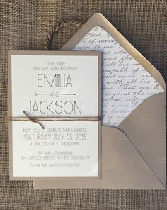 Lace Rustic Wedding Invitation Lace Bunting on Kraft Card with ...
