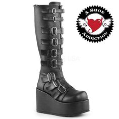 Buy Women's gothic shoes online - DEMONIA Buckle Gothic Punk Lolita Alternative Platforms Knee Boots in Australia. Visit our website to buy Gothic Shoes! Womens Gothic Boots, Gothic Shoes, Boots Online, Different Styles, Vegan Leather, Rubber Rain Boots, Knee Boots, Platform, Punk