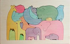 Wood puzzle elephant giraffe  modern | Wooden Puzzle / Animal Family