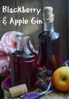 Apple and blackberry gin recipe, a DIY liqueur, perfect for gifts from Larder Love Homemade Alcohol, Homemade Liquor, Gourmet Gifts, Food Gifts, Flavoured Gin, Gin Recipes, Cocktail Recipes, Alcohol Recipes, Homemade Christmas