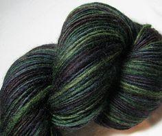 Handspun Yarn Gently Thick and Thin Single Dark by SheepingBeauty, $36.00