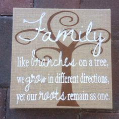 Burlap Family Quote Wall Art Decor branches by TheSidewaysGarage