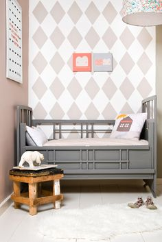 cute toddler room - love the grey bed