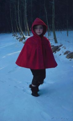 Little Red by Jeremy Lipking, Oil, 40 x 24 Amazing Paintings, Oil Portrait, Painting Portraits, Young Female, Traditional Paintings, Elements Of Art, Red Riding Hood, Little Red, Figure Painting