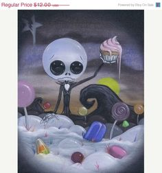ON SALE Lowbrow Sugar Fueled Nightmare Candyland Jack Skeleton creepy cute big eye art print