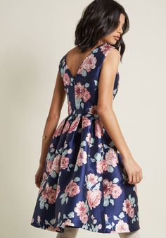 Chi Chi London Sweetly Celebrated Fit and Flare Dress in Floral - Waiting for an occasion to flaunt this navy fit and flare from Chi Chi London? We believe making this floral-printed beauty yours is reason enough to throw a party! A subtle sheen, princess seams, and voluminous pleats make this feminine frock an optimal choice for honoring your style sophistication.