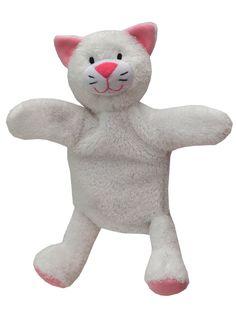 Maňásek na ruku s nohama - Kočička bílá